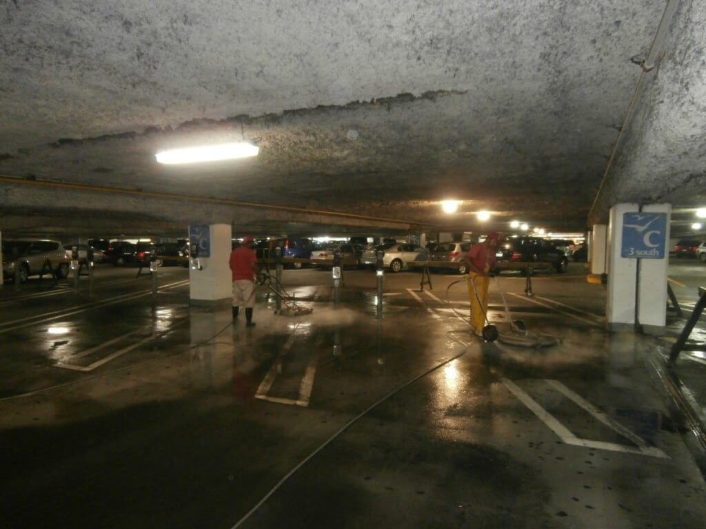 The Area's Top Provider Of Quality Parking Garage Cleaning & Maintenance Services. Parking Garages should be cleaned in the Northeast at least once a year, and in high traffic garages twice a year, due to the salts and other contaminants that get into the garage surfaces. They eventually get absorbed into the concrete parking surfaces and soon will cause the rebar to rot out. When this happens the concrete begins to leak,crack and in the worse case scenario the garage itself can be condemned. We use state of the art hot and cold water powerwashing machines ranging up to 4000 PSI with up to 200+ degree water, surface machines and any cleaning solutions needed for all parking garage cleaning. Our knowledgeable staff is experienced on how to lighten or when possible remove stains completely. Each Parking Garage cleaning is approached based upon the existing conditions, and we will use the correct products and methods specific to your facility's cleaning and maintenance requirements.