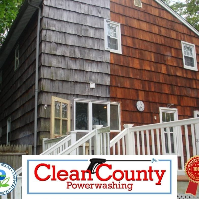 """Press 'pause' before you budget out a costly siding replacement project! Clean County offers residential house washing services that bring a 'like new' effect to your property… Without the time and investment that comes with a brand new exterior. House Washing: Why It Matters The quality of your home is constantly up against a legion of issues: Dirt, grime, dust, airborne pollutants, mold, and mildew compromise curb appeal and harm the condition of your siding. Our climate doesn't help. The northeast's weather creates an ideal habitat for spore-bearing bacteria, which results in those dark stains you see on siding. These streaks diminish curb appeal, but they can also cause your exterior to deteriorate. It's important to take action against a dirty exterior – but pressure washing is not the solution. This method uses force to """"clean"""" away any buildup on your exterior. And in the process, it can crack siding, cause water damage around your windows, and destroy landscaping. Clean County offers a safer, more effective alternative. Or soft wash system gently washes away years of unsightly buildup to reveal a clean, fresh, """"like new"""" home exterior."""